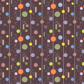 Bubbles and dots multiple colors  on brown wood texture