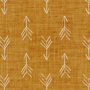 Mustard Sketch Linen Effect Boho Arrows