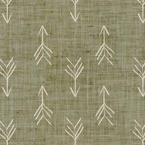 Olive Sketch Linen Effect Boho Arrows