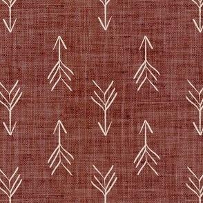 Dark Rust Sketch Linen Effect Boho Arrows