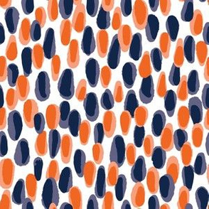 Navy and Orange Team Color Paint Dabs