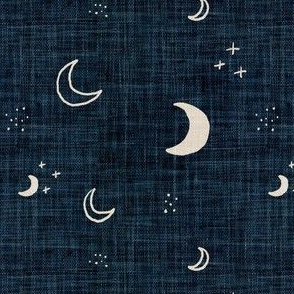 Linen Hessian Effect Blue Denim Boho Rustic Moons