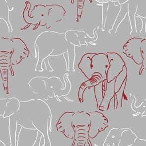 Crimson and Grey Elephants 6