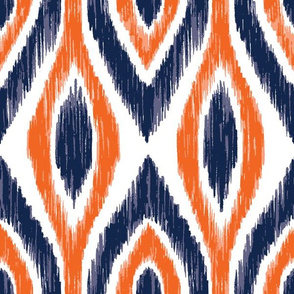 Navy and Orange Team Color Ikat