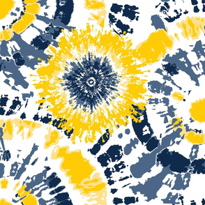 Yellow and Blue Team Color Tie Dye