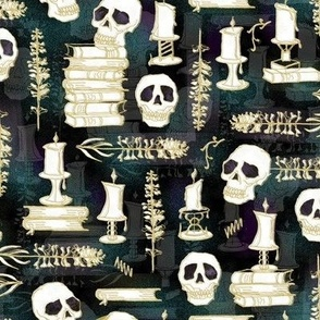 Ode To Alchemy -- Gold, white, subtle pine green background --  Skull Skeleton Book Halloween Concoction