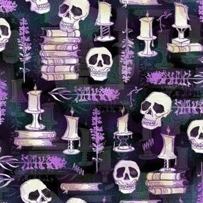 Ode To Alchemy -- Magenta lilac,  white, subtle pine green background -- Skull Skeleton Book Halloween Concoction