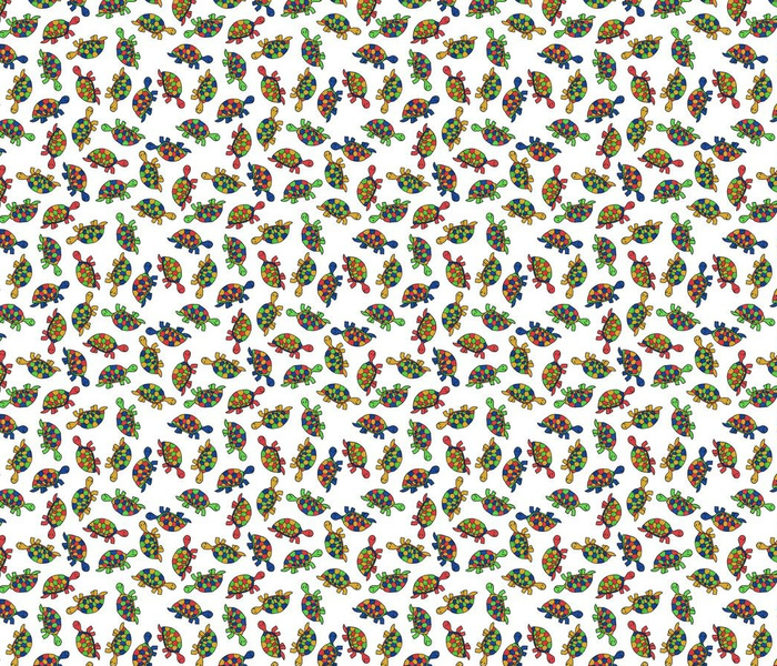 colorful tossed turtles on white