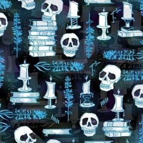 Ode To Alchemy -- Blue Skull Skeleton Book Halloween Concoction