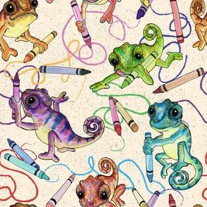 Colorful Coloring Chameleons by ArtfulFreddy