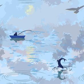 Fishing on the lake Summer morning