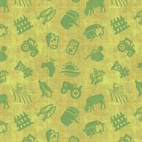 Farm Fresh Icon Toss in Grass Green Burlap