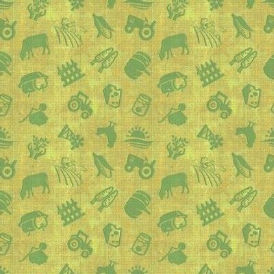 Farm Fresh Icon Toss in Grass Green Burlap