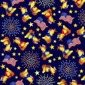 Cute Patriotic Ducklings on Midnight Blue