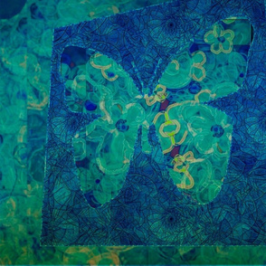 Blue-Teal Butterfly Mosaic Tile