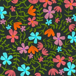 Dark yet bright flowers, Bright flowers in the night, Scattered florals
