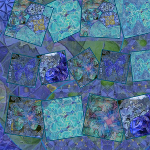 """Blue, teal and green mosaic quilt20"""""""