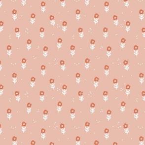 Little poppy flower garden delicate scandinadian minimalist style nursery garden design coral pink orange