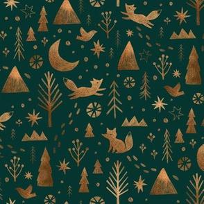 Winter fox - copper on spruce green - small scale
