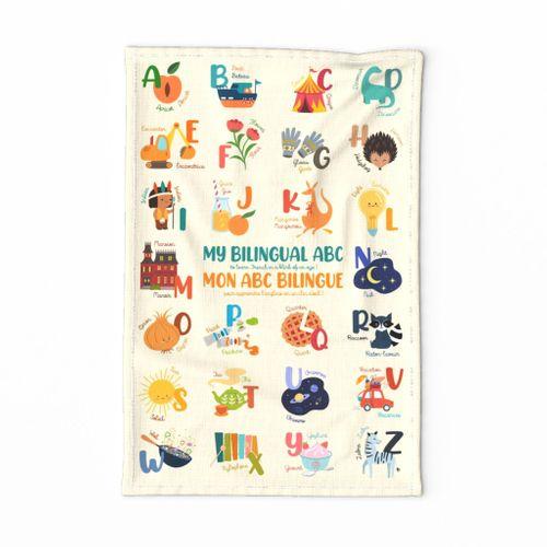 My bilingual ABC English/French tea towel