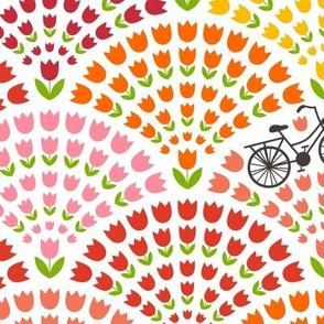 Bike ride across the tulip fields - large scale