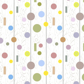 Circles and dots on various colors on white wood texture