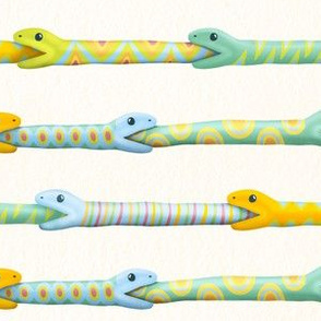 Funny Colorful Reptiles Snakes Green Orange Blue