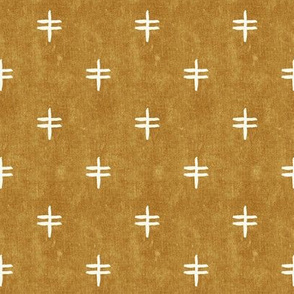(small scale) double cross - mud cloth - mustard - mudcloth tribal - C20BS