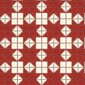 Simple Star Block Quilt Pattern Red/White