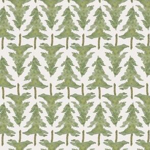 medium evergreen tree winter on cream