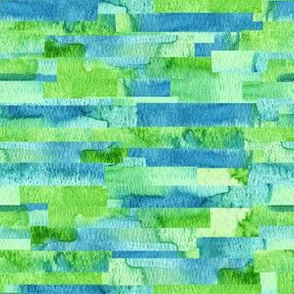 Green Stripe Watercolor Collage|Horizontal Stripe|Renee Davis