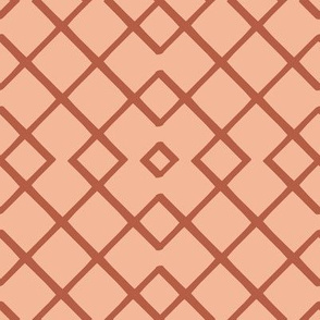 Bamboo Lattice Mudcloth in Peach + Terracotta