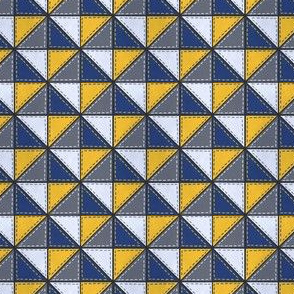 Triangle Block Quilt Pattern Blue/Yellow/Grey