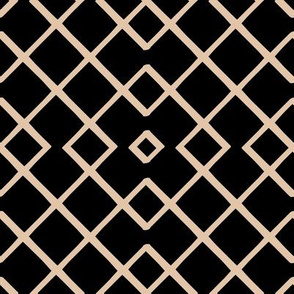 Bamboo Lattice Mudcloth in Ebony + Ecru