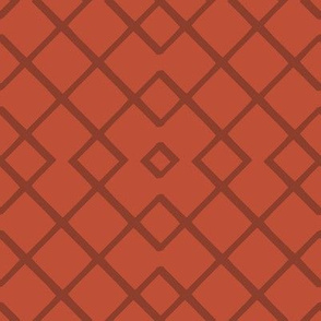 Bamboo Lattice Mudcloth in Rust + Terracotta
