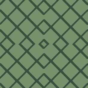 Bamboo Lattice Mudcloth in Sage + Pine