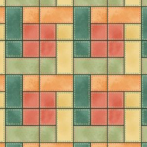 Rectangle Block Quilt Pattern Green/Orange
