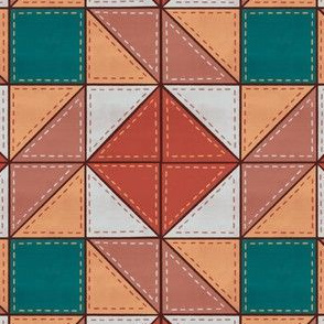 Simple Diamond Quilt Block Pattern Pink/Teal