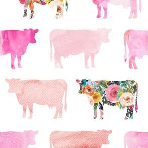 floral + watercolor cows