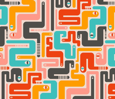 Retro Rattlers Mid Century Modern Snake Pattern - LARGE SCALE-UnBlink Studio by Jackie Tahara