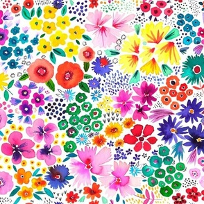 Artful little flowers garden White