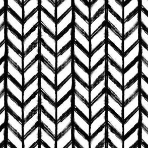 Shibori Chevrons - Black and White