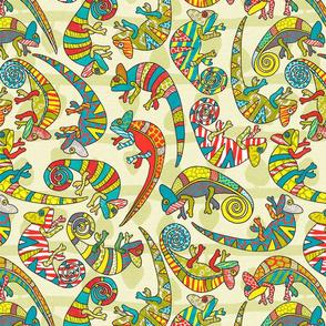Paper Collage Chameleons