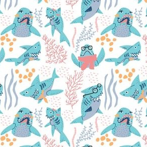 Sharks Family seamless pattern