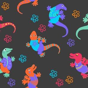 Happy Lizaeds on Dark Background