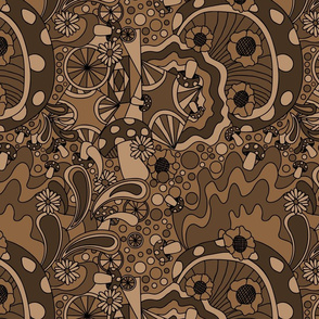 70s psychedelic monotone brown