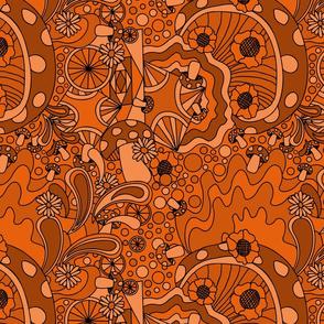 70s psychedelic monotone burnt orange
