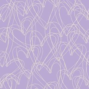 sketchy hearts purple