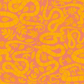 Snake  block print pink and orange