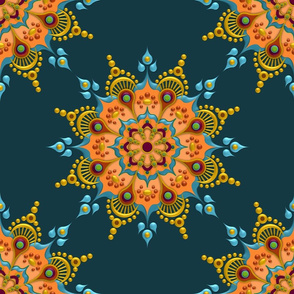 Gold Mandala on Teal - Medium